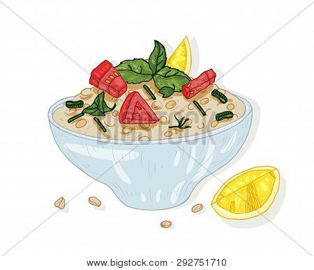 Tabbouleh Salad In Bowl Isolated On White Background. Tasty Restaurant Vegan Meal Made Of Tomatoes A