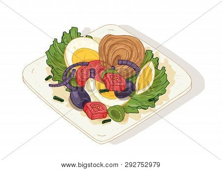 Delicious Salad With Vegetables And Fish On Plate Isolated On White Background. Tasty Wholesome Dish