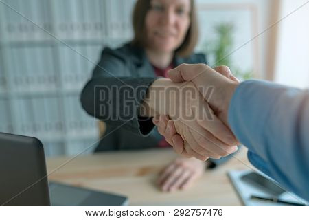 Businessman And Businesswoman Handshake, Two Business People Shaking Hands And Greeting Each Other T