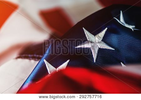 4th Of July Independence Day And Crumpled American Flag Concept, Usa Banner With Stars And Stripes F