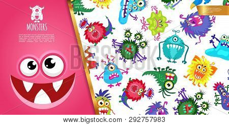 Cartoon Funny Colorful Monsters Composition With Cute Creatures And Joyful Monster Face Vector Illus