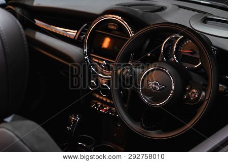 Bangkok, Thailand - March 31, 2019: Interior  And Multifunction Control Wheel Of The New Mini Cooper
