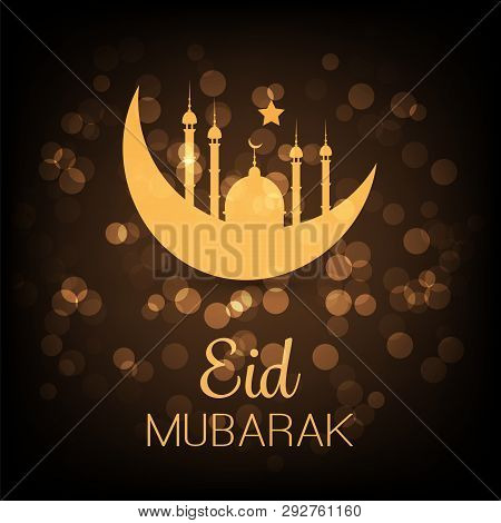 Ramadan Kareem Or Eid Mubarak - Dark Greeting Card Design For Muslim Community Festival With Golden