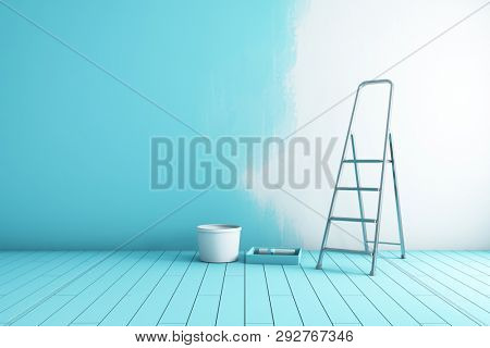 Repair of room, painting walls in creative style. 3D illustration.