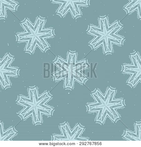 Winter Rustic Snowflake Lino Cut Texture Seamless Vector Pattern