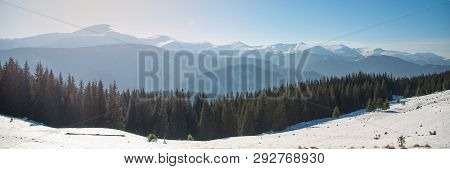 Beautiful Winter Panoramic View Of Snow Capped Mountains