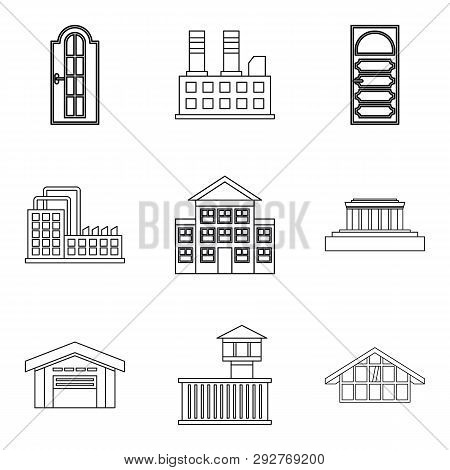 City Edifice Icons Set. Outline Set Of 9 City Edifice Icons For Web Isolated On White Background