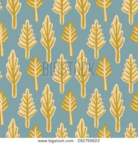 Winter Rustic Fir Tree Lino Cut Texture Seamless Vector Pattern, Sketchy Pine Forest