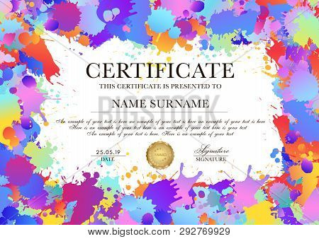 Certificate, Diploma Template With Colorful Pattern Background (art Paint Drops, Spots). Vector Rain