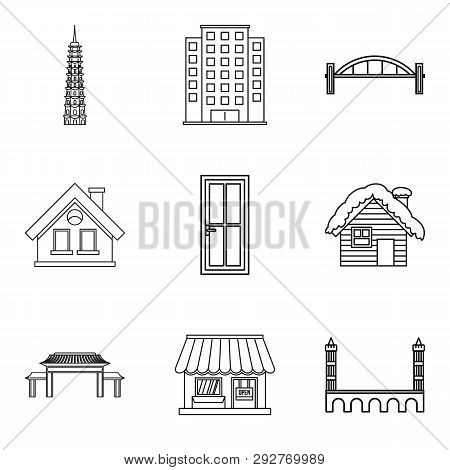 Urban Edifice Icons Set. Outline Set Of 9 Urban Edifice Icons For Web Isolated On White Background