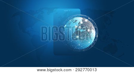 Global Networks Design With Network Mesh, Earth Globe And Smartphone Silhouette - Vector Template Fo