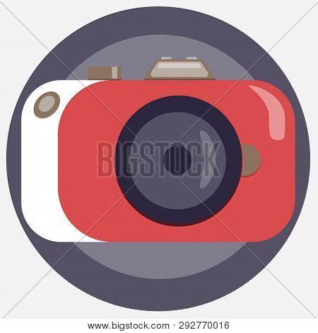 Stylish Camera In A Corral-white Color. Retrofuturism Photographic Equipment. Vector Illustration.