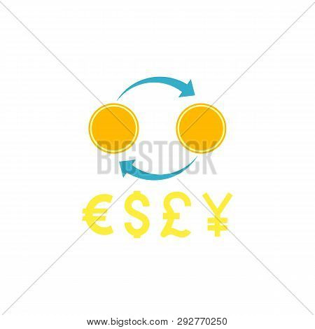 Currency Exchange. Currency Exchange With Different Currency Vector Flat Icon Isolated On White Back