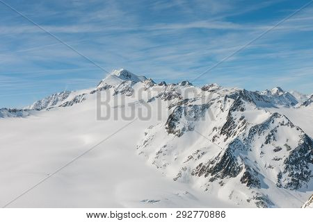 Stock Picture Of Winter Landscape And Big Mountains