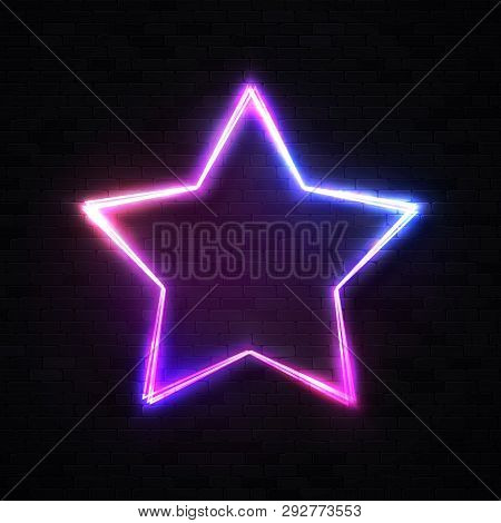3d Realistic Stars Background On Black Brick Wall. Glowing Star Frame Element Or Show Signboard For