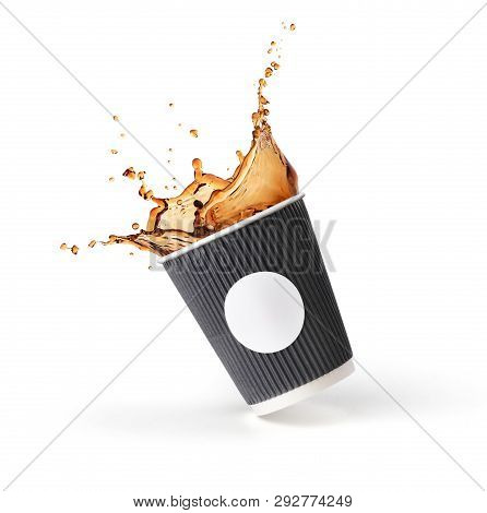 Coffee Splash In Paper Cup  Isolated On White Background.