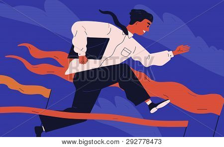 Smiling Office Worker Or Clerk Jumping Over Barrier. Concept Of Person Overcoming Obstacles, Withsta