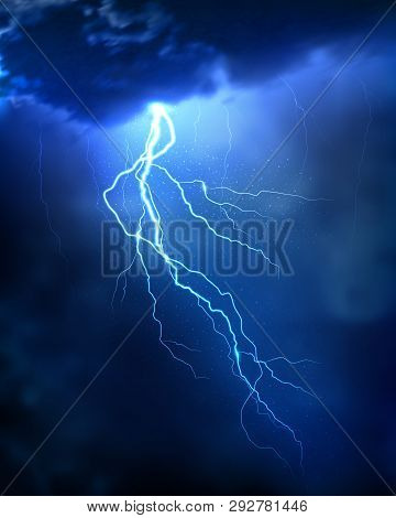 Lightning Strike On The Dark Cloudy Sky. Realistic Vector Illustration