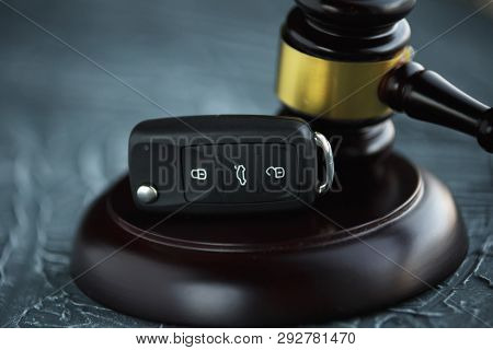 Car Auction Concept - Gavel And Car Key On The Wooden