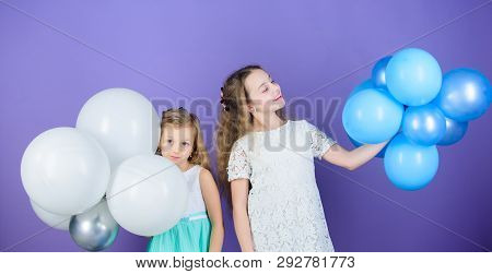 An Amazing Day With Full Of Fun. Little Girls Celebrating Birthday Anniversary With Air Balloons. Ad