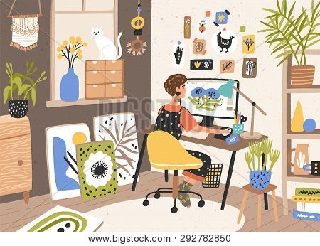 Female Graphic Designer, Illustrator Or Freelance Worker Sitting At Desk And Work On Computer At Hom