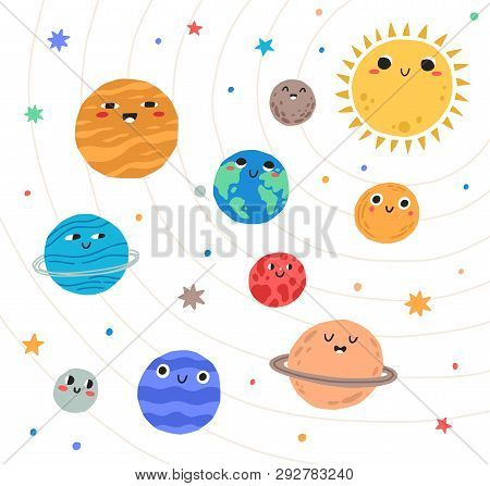Cute Planets Of Solar System With Happy Faces. Funny Celestial Objects In Outer Space. Pretty Astron