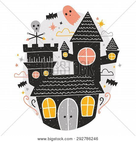 Mysterious Haunted Castle, Cute Funny Scary Ghosts And Bats Flying Around Against Starry Night Sky O