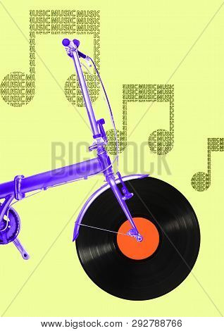 A Musicial Motion. An Alternative View Of Summer Transport. A Purple Bike With Vynil Record As A Whe