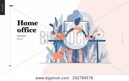 Technology 3 -home Office - Modern Flat Vector Concept Digital Illustration Home Office Metaphor, A