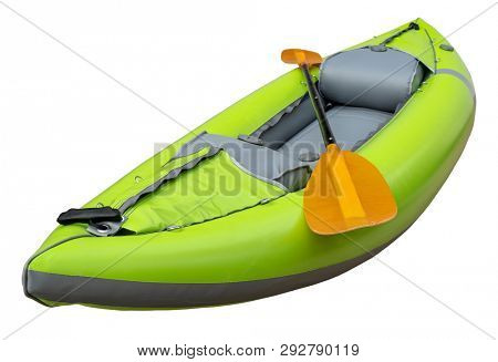 green inflatable whitewater one person kayak with a paddle isolated on white