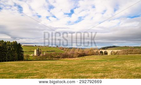 Edlingham Castle And Railway Viaduct, A Small Castle At The Hamlet Of Edlingham In Northumberland, W