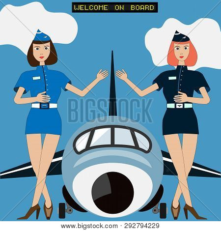 Two Air Ladies Of Flight Hostess Welcomes On Boarding In From Of Big Aircraft Or Plane. Clouds And A