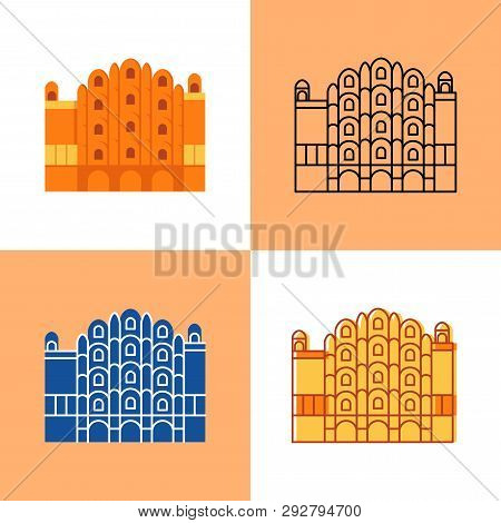 Hawa Mahal Icon Set In Flat And Line Styles