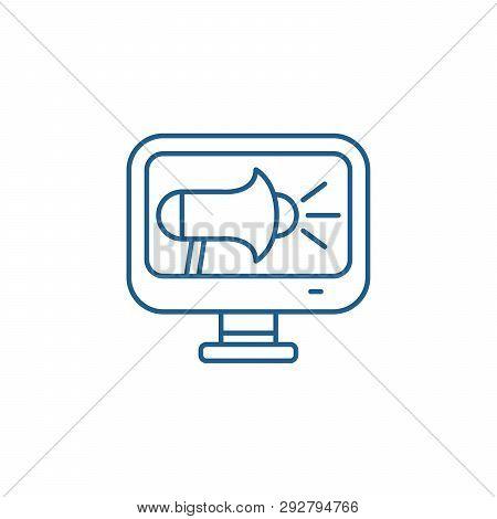 Online Pr Line Icon Concept. Online Pr Flat  Vector Symbol, Sign, Outline Illustration.