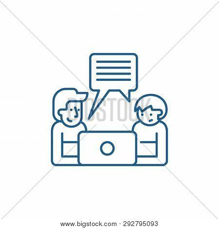 Online Seminar Line Icon Concept. Online Seminar Flat  Vector Symbol, Sign, Outline Illustration.
