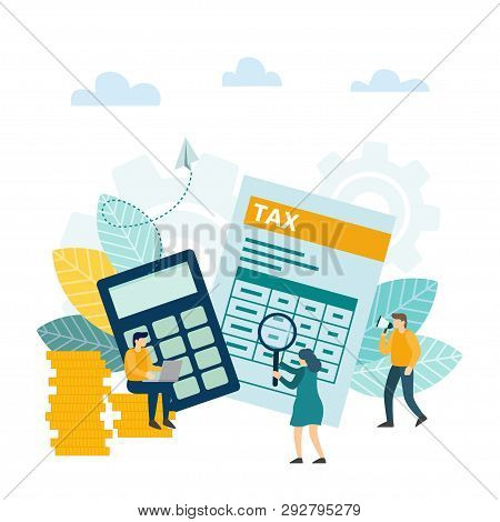 Concept Tax Payment. Tax Financial Analysis, Tax Online, Accounting Service Concept. Businessman Cal