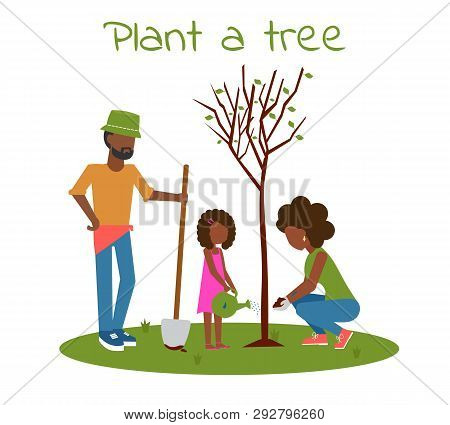 Afro Family Planting Tree Outdoors. Man, Woman, Girl Planting Trees. Child Planting Trees. Flat Vect