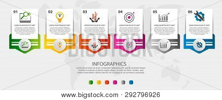 Modern Vector Illustration. Infographic Template With Sixelements, Circles And Text. Step By Step. D