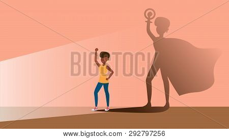 A Concept For Empowering Afro Women In The Form Of Women In The Role Of Superhero In Shadow. Flat Ve