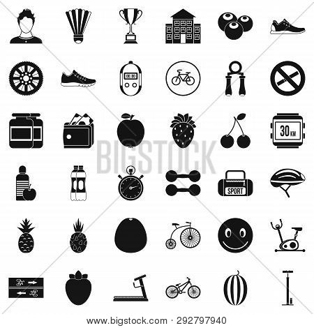 Strength Icons Set. Simple Style Of 36 Strength Icons For Web Isolated On White Background
