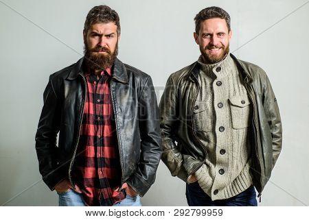 Brutal Men Wear Leather Jackets. Men Brutal Bearded Hipster. Handsome Stylish And Cool. Masculine An