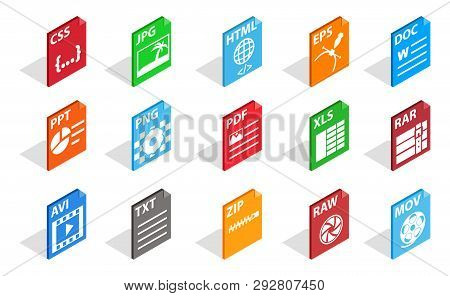 Files Type Icon Set. Isometric Set Of Files Type Icons For Web Isolated On White Background