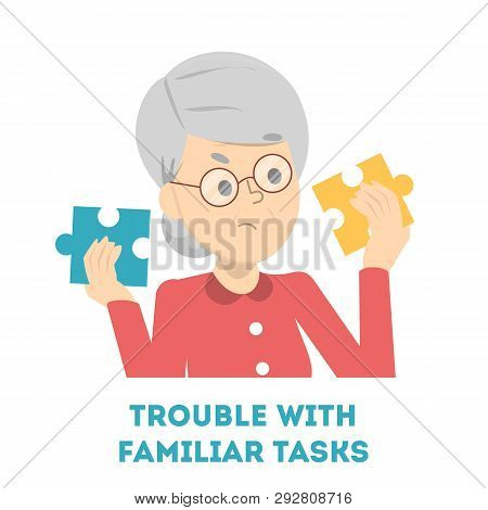 Old Woman Having Trouble With A Familiar Task