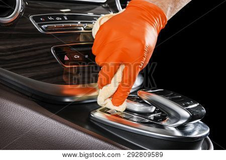 A Man Cleaning Car With Microfiber Cloth. Car Detailing Or Valeting Concept. Selective Focus. Car De