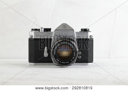 Moscow, Russia, March 30, 2019. The Old Japan 35 Mm Film Slr Cameras Pentax Spotmatic Released On As