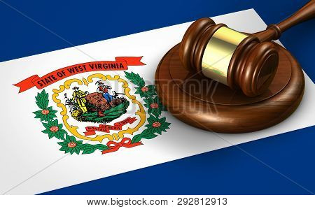 West Virginia Us State Law, Legal System And Justice Concept With A 3d Rendering Of A Gavel On The W