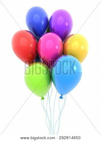 Colored Balloon On Isolated Background. 3d Illustration