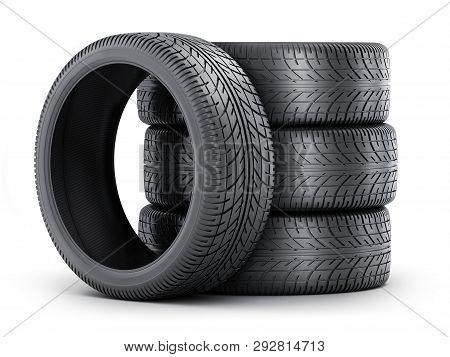 Four Tire Car On White Background. 3d Illustration