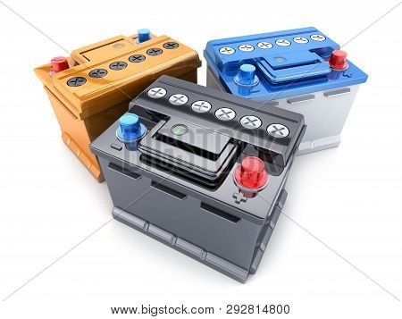 Three Battery Car On Isolated White Background. 3d Illustration
