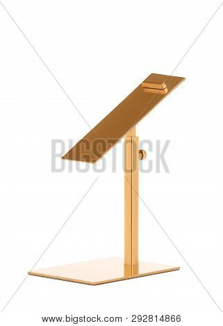 Metal Stand For Displaying Shoes In The Store. Stand For Shoes On A White Background. Demonstration